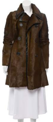 Derek Lam Leather-Trimmed Haircalf Coat w/ Tags