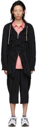 Comme des Garcons Black Broadcloth Ruched Coat