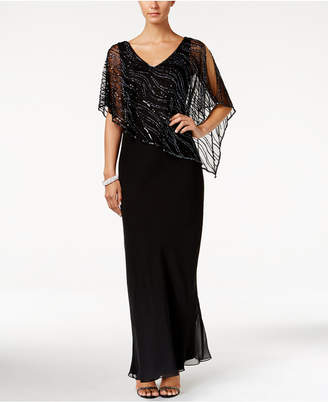 J Kara Beaded V-Neck Illusion-Overlay Gown $269 thestylecure.com