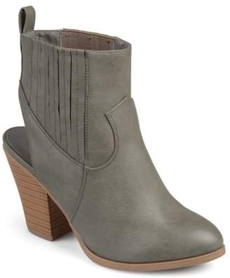 Brinley Co. Women's Faux Leather Stacked Wood Heel Slingback Western Almond Toe Booties