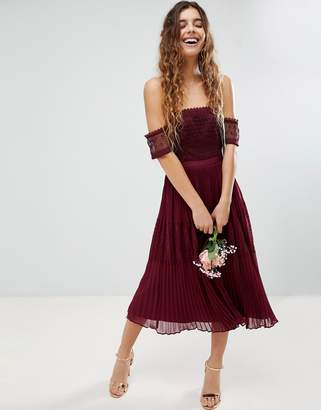 Asos Bridesmaid Premium Guipure Lace Paneled Midi Dress