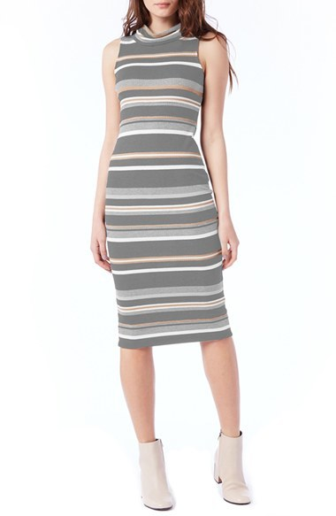Women's Michael Stars Stripe Sleeveless Rib Knit Midi Dress