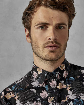 Ted Baker RHUBARB Cotton floral geo dot shirt