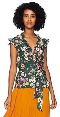 Parker Women's Miranda Cap Sleeve wrap Floral Blouse