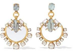 Elizabeth Cole Gold-Tone Stone Crystal And Faux Pearl Earrings
