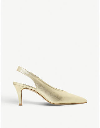 Dune Cantrel metallic leather slingback courts