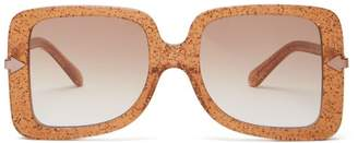 Karen Walker Eden Supernova Glitter Oversized Sunglasses - Womens - Dark Yellow