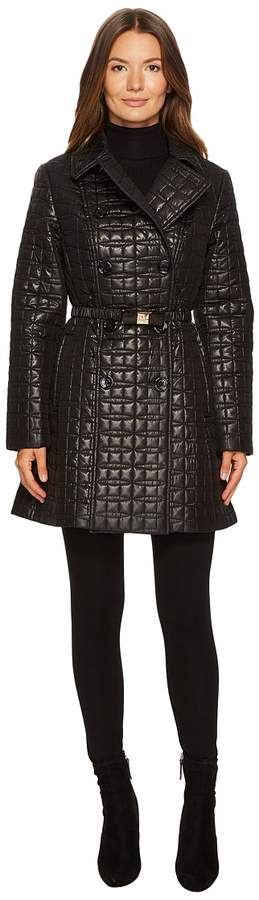 Kate Spade New York - Quilted Tortoise Bow Buckle Double-Breasted Jacket Women's Coat