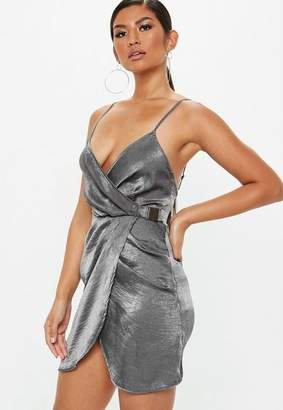 Missguided Grey Strappy Satin Wrap Buckle Dress