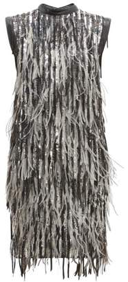 Christian Dior William Vintage Sequin And Feather Shift Dress - Womens - Silver