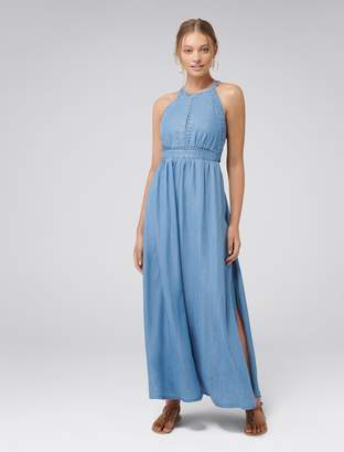 Forever New Addison Lace Trim Denim Maxi Dress - Mid Blue - 6