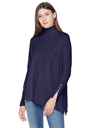 A.Dasher Women Fine Gauge Asymmetric Hem Turtleneck Sweater Top with Pearl Trim Sleeves