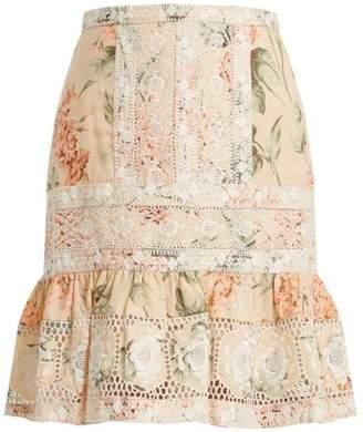 Zimmermann Prima Hydrangea Linen And Cotton Blend Skirt - Womens - Pink Multi