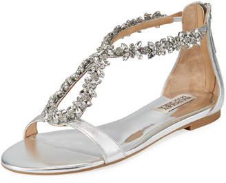 9a40b021babd ... Badgley Mischka Haynes Jeweled Flat Metallic Leather Sandal