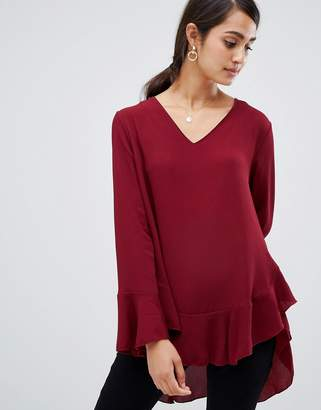 Girls On Film v neck top with frill sleeve