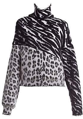 Unravel Project Women's Zebra & Leopard-Print Sweater