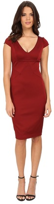Adrianna Papell Cap Sleeve Stretch Ottoman Seamed Cocktail Dress w/ Exposed Back Zipper $175 thestylecure.com