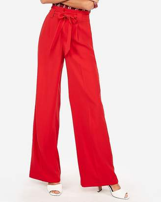 Express High Waisted Sash Waist Wide Leg Pant