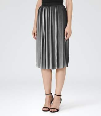 Reiss Adalie - Plisse Midi Skirt in Off White