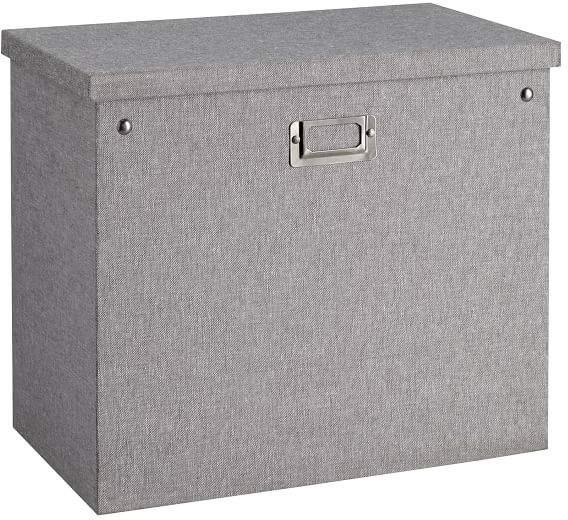Gray Blythe Linen Desk Accessories, Tall File Box