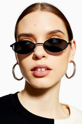 Topshop Womens Slender Oval Sunglasses - Black