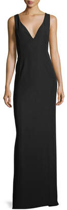 Emporio Armani Deep V Crepe Column Evening Gown with Pleat Detail