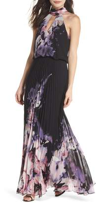 Xscape Evenings Pleated Halter Neck Chiffon Gown