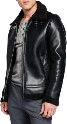 Slate & Stone Men's Faux-Leather Buckled-Neck Jacket, Black
