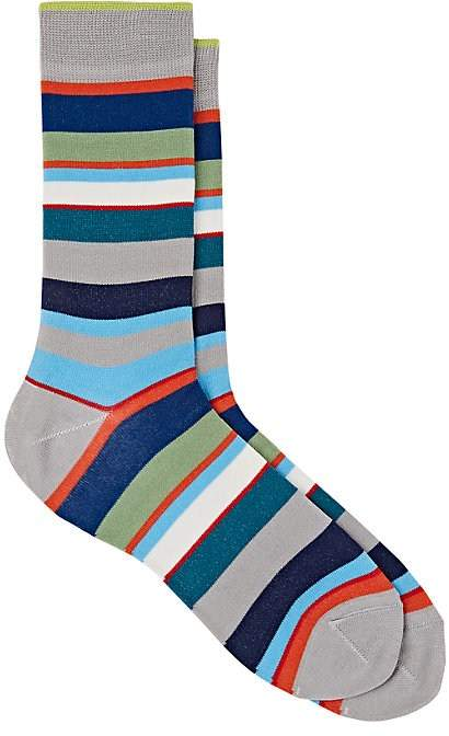 Men's Mixed-Striped Cotton-Blend Mid-Calf Socks