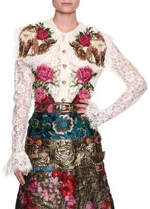 Dolce & Gabbana Rose & Cat Embroidered Lace Shirt, White