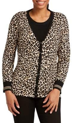 Foxcroft Veronika Leopard Print Cardigan Sweater