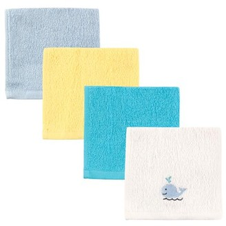 Luvable Friends Baby Boy and Girl Woven Terry Washcloths, 4-Pack - Boy Whale
