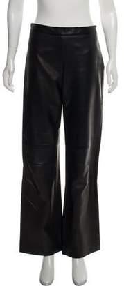 Agnona Leather Mid-Rise Pants