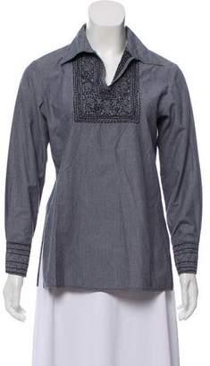 Roberta Freymann Embroidered Long Sleeve Striped Top