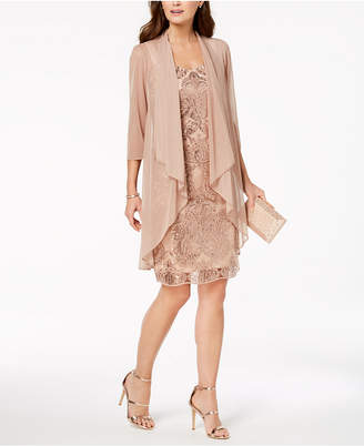 R & M Richards Petite Embellished Sheath Dress & Draped Jacket