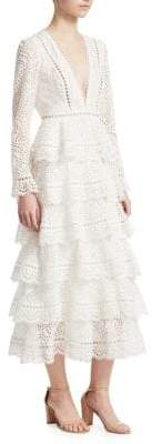Zimmermann Bayou Tiered Lace Midi Dress
