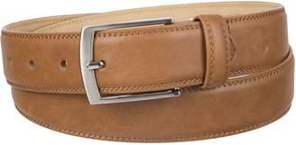 Weatherproof Men's Belt with Single Prong Buckle, Cognac/Silver Buckle