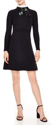 Sandro Ruffle Tie Neck Fit & Flare Dress