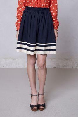 Karen Walker Shirred-Striped Skirt
