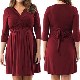 zenicham Long Sleeve V-Neck Fake Two Piece Loose Maternity Dress Plus