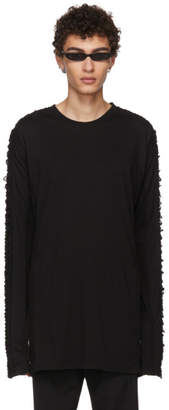 Julius Black Long Sleeve Lace-Up T-Shirt