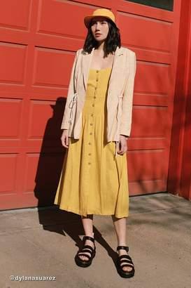 Urban Outfitters Linen Button-Down Drop Waist Midi Dress