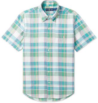 Polo Ralph Lauren Button-Down Collar Checked Cotton-Blend Shirt