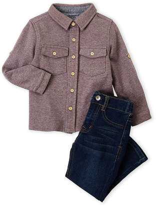 Hudson Toddler Boys) Two-Piece Terry Shirt & Jeans Set