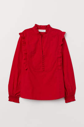 H&M Stand-up Collar Cotton Blouse - Red