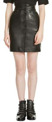 Maje Journey Leather Miniskirt