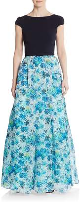 Theia Women's Blocked Floral A-Line Gown