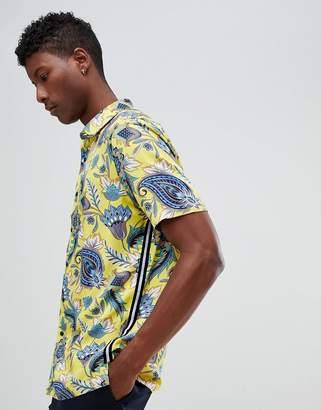 Asos DESIGN regular fit floral shirt with taping detail