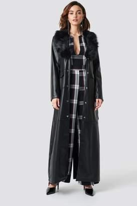 Na Kd Trend Patent Maxi Coat Black