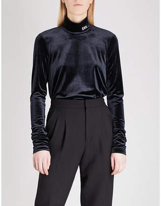 Mo&Co. Shh slogan-embroidered velvet top